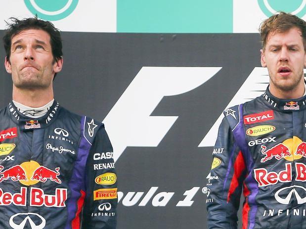 Momentos de tensión en el pódium entre Vettel y Webber