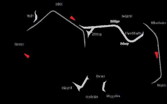 Detalle del actual trazado del Circuito de Silverstone