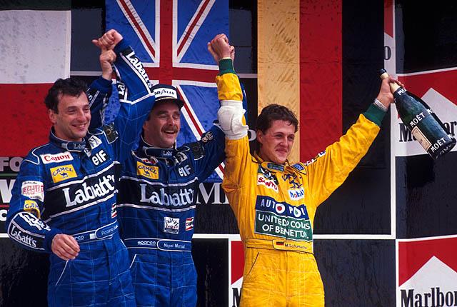 Pódium del último GP de Mexico, disputado en 1992