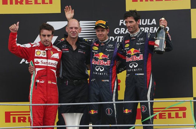 Pódium del GP de Italia 2013, con Vettel, Alonso y Webber
