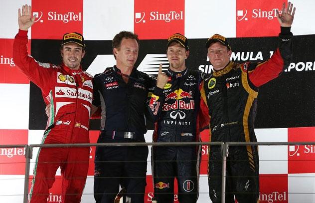 Pódium del GP de Singapur, con Vettel dominador de principio a fin
