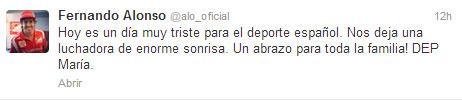 Tuit de Fernando Alonso de homenaje a María de Villlota
