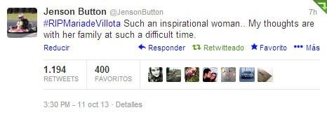 Jenson Button también se acordó de María de Villota en Twitter