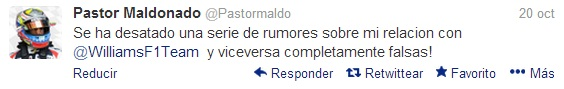 Imagen del Twitter de Pastor Maldonado negando discrepancias con Williams