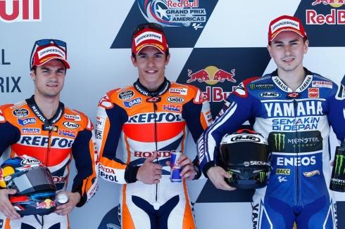 Márquez, Lorenzo y Pedrosa, los pilotos más asiduos del pódium en MotoGP 2013
