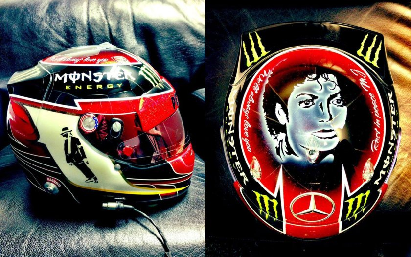 Detalle del casco que lucirá Hamilton en homenaje a Michael Jackson