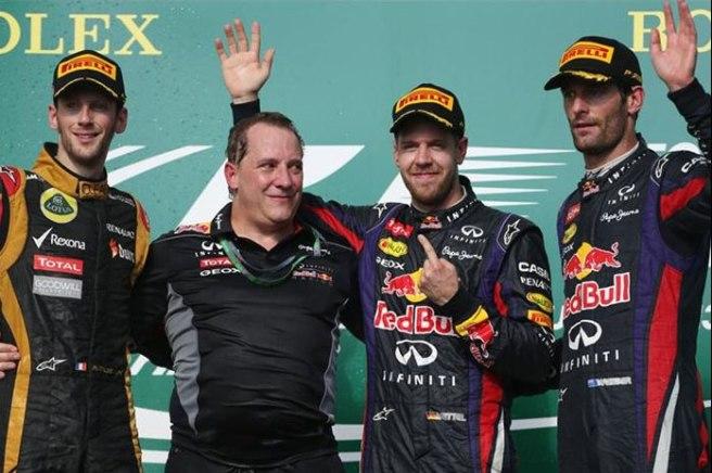 Sebastian Vettel, en el podium de Austin, con Grosjean y Webber