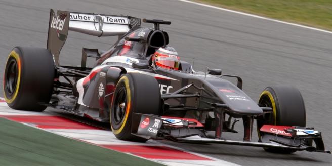 Hulkenberg, rodando en el Circuito de Montmeló durante la pretemporada