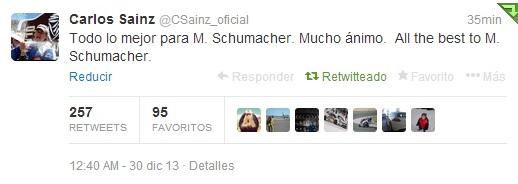 Tuit del español Carlos Sáinz de apoyo a Schumacher