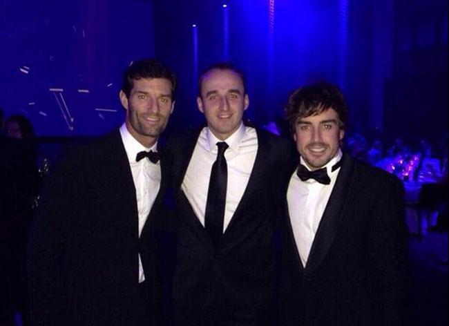 Mark Webber, Robert Kubica y Fernando Alonso, en la gala de la FIA 2013
