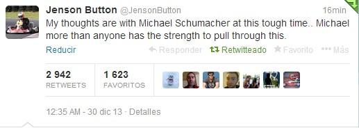 Emotivo mensaje de apoyo a Schumacher por parte de Jenson Button