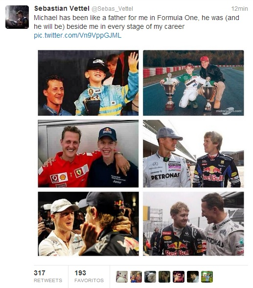 Sentido homenaje de Sebastian Vettel a Michael Schumacher