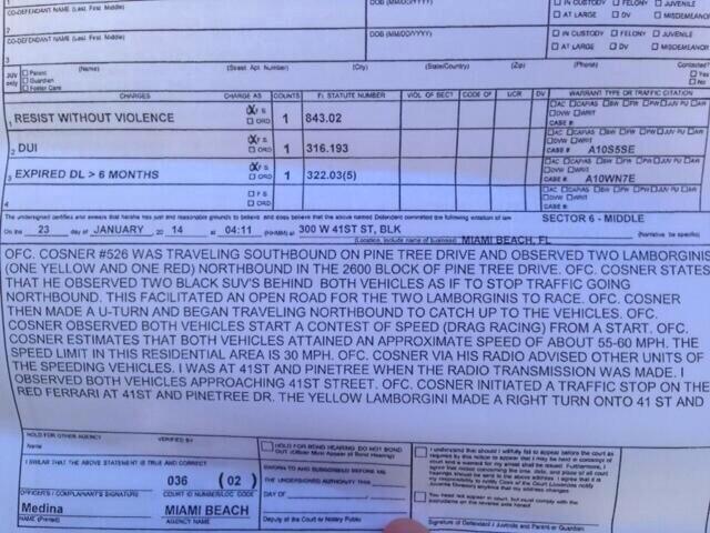Parte de arresto de Justin Bieber