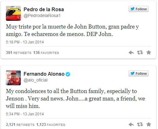 Mensajes de pésame mandados por De la Rosa y Alonso