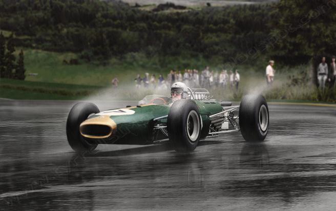 Jack Brabham, a los mandos del Brabham Climax BT11 en 1965