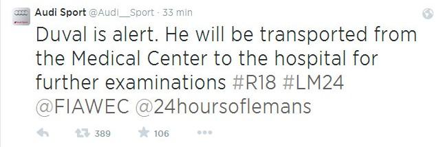Detalle del Twitter de Audi Sport, informando del accidente de Duval