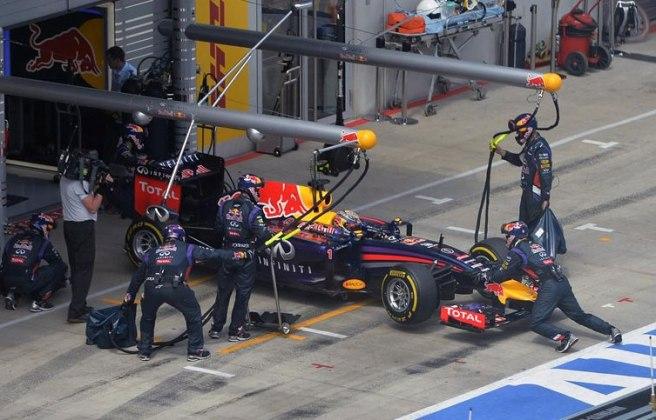 Sebastian Vettel en el instante de su abandono