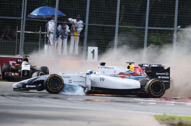 Momento en el que impacta Massa contra las protecciones