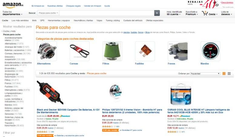Ya es posible comprar toda clase de recambios desde Amazon.es