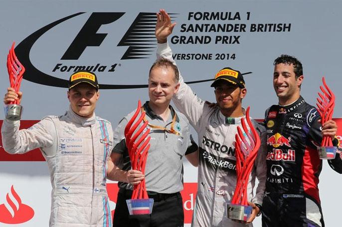Hamilton, Bottas y Ricciardo, pódium en Silverstone