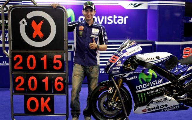 Jorge Lorenzo, anunciando la extensión de su contrato con Yamaha hasta 2016