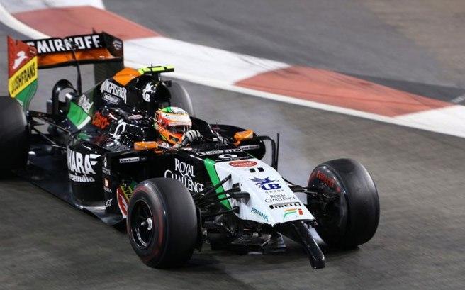 Sergio Pérez, sin el alerón delantero tras su choque con Sutil