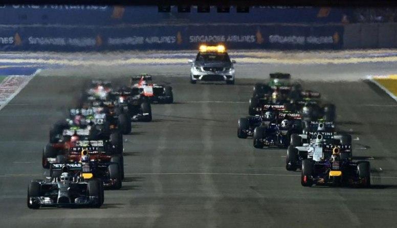 Salida del GP de Singapur sin Nico Rosberg en la parrilla