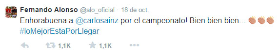 Tuit de Fernando Alonso felicitando a Carlos Sáinz por su título