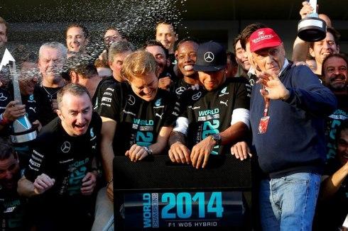 El equipo Mercedes, brillante campeón del mundo de Constructores 2014