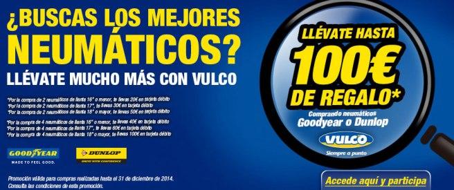 Vulco regalará una tarjeta con 100 euros por cambiar las ruedas en sus talleres