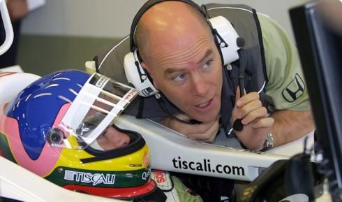 Jock Clear, en sus tiempos de ingeniero de Jacques Villeneuve