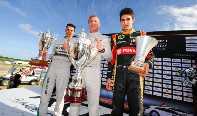 Pódium de la Race of Champions 2014, con Coulthard, Wehrlein y Ocon