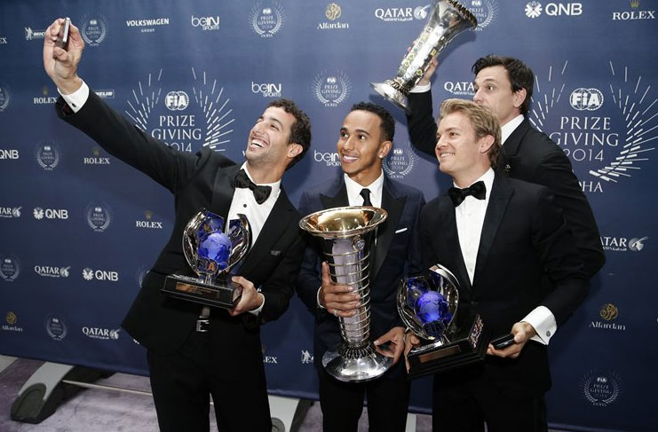 Los protagonistas de la FIA Awards Gala 2014, en una simpática foto