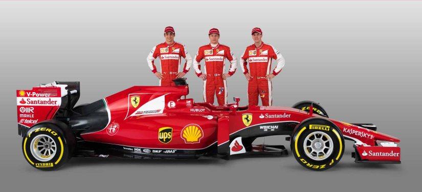 El nuevo Ferrari SF15-T y sus tres pilotos