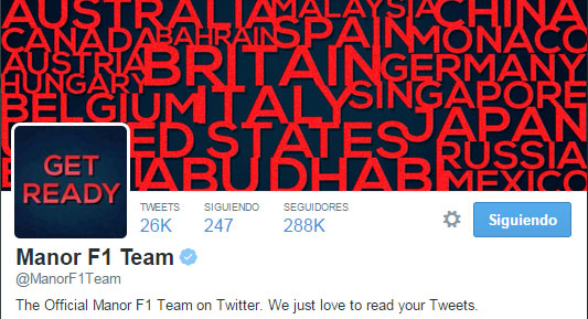 Cabecera de la nueva cuenta de Twitter de Manor F1 Team
