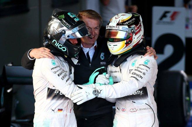 Reinó la concordia entre Nico Rosberg y Lewis Hamilton tras acabar la carrera