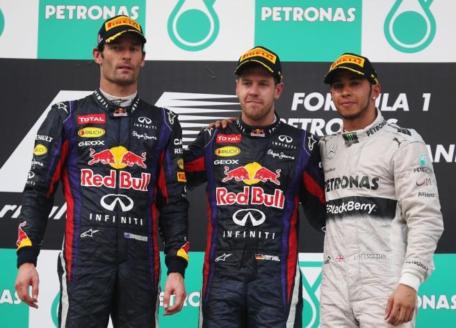 Máxima tensión entre Webber y Vettel en el pódium del GP de Malasia 2013