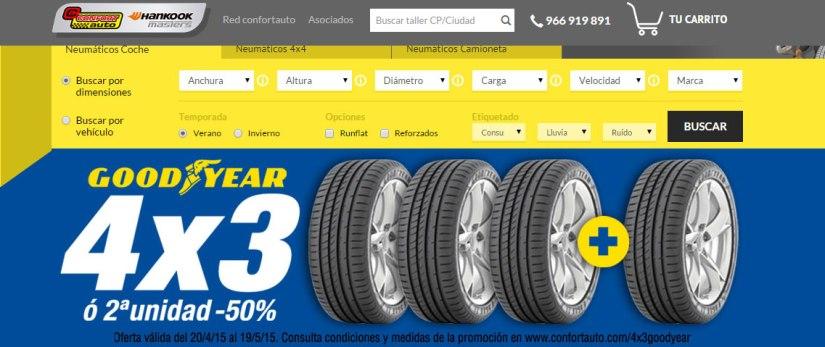 Confortauto ofrece 4x3 en neumáticos Goodyear