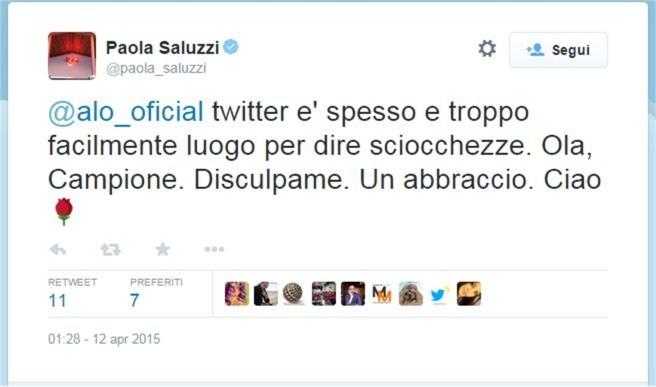 Tweet de petición de disculpas de Paola Saluzzi a Fernando Alonso