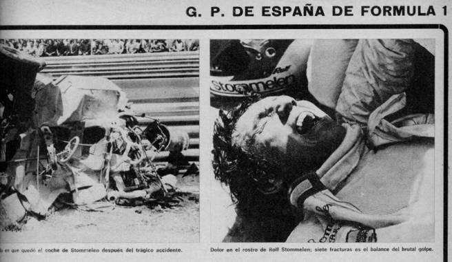 Detalle de una de las barreras del Circuito de Montjuic en el GP de España de 1975
