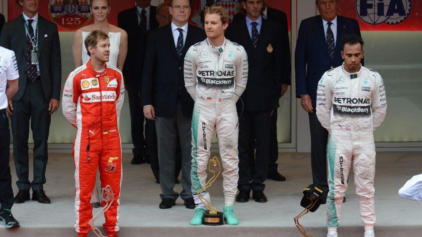 Pódium del GP de Mónaco 2015, con Rosberg en lo más alto