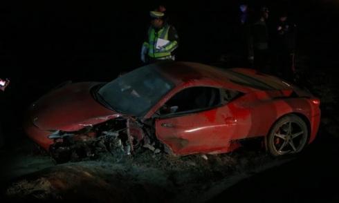Estado en el que quedó el Ferrari de Arturo Vidal tras su accidente