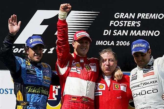 Michael Schumacher, último vencedor en Imola, en 2006