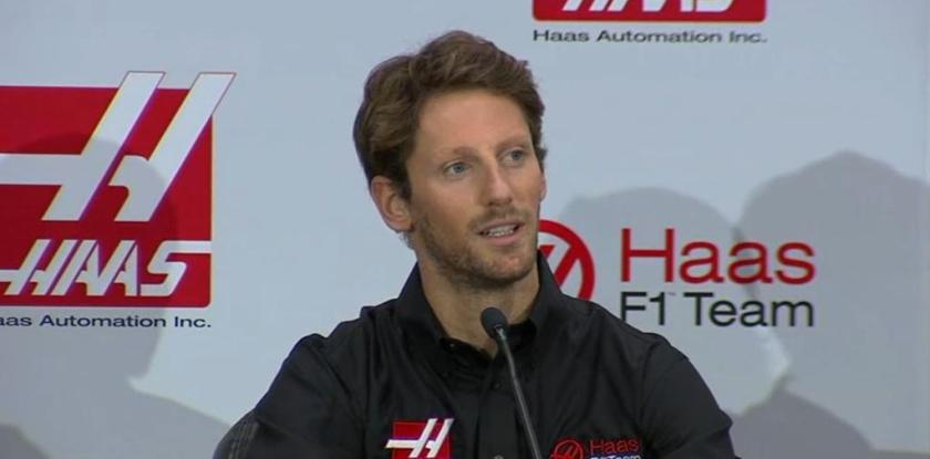 Romain Grosjean, durante su presentación como nuevo piloto de Haas F1