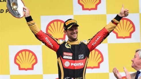Romain Grosjean, celebrando su podium en el GP de Bélgica de este año