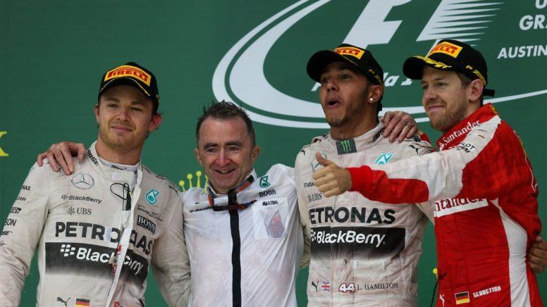 Lewis Hamilton, flamante nuevo campeón del mundo 2015, junto a Rosberg y Vettel