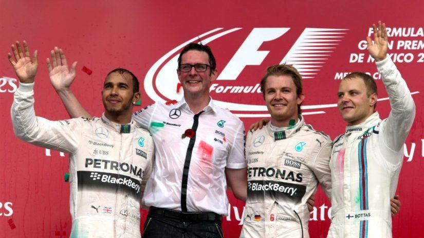 Rosberg, junto a Hamilton y Bottas el primer pódium del nuevo GP de México
