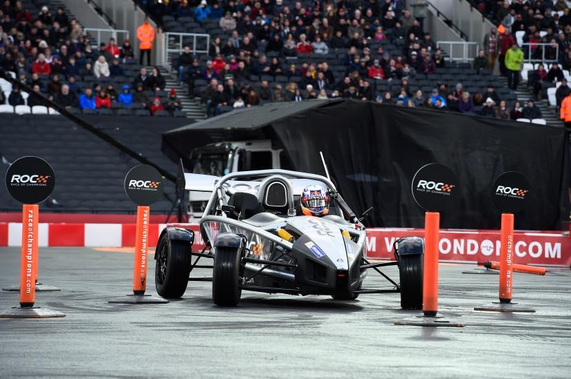 Daniel Ricciardo, durante la Skills Challenge de la ROC 2015