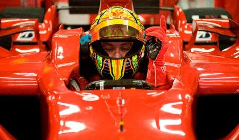 Valentino, a bordo del Ferrari F2008