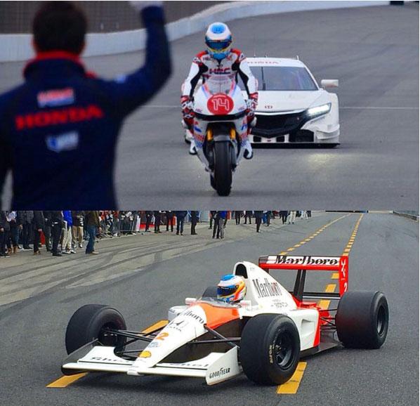 Fernando Alonso se divirtió de lo lindo con el MP4/6 y la Honda de MotoGP